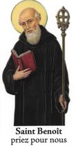 Bougie de Neuvaine Saint Benoît avec effigie et prière