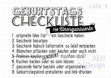 Textstempel GEBURTSTAGS-CHECKLISTE