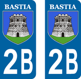Lot de 2 stickers ville de Bastia