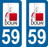 Lot de 2 stickers ville de Douai 59