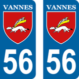 Lot de 2 stickers ville de Vannes 56