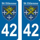 Lot de 2 stickers de la Ville de St Etienne