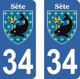 Lot de 2 stickers ville de Sète