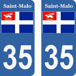 Lot de 2 stickers drapeau de St Malo