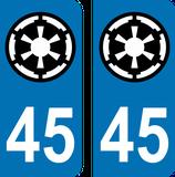 Lot de 2 stickers logo Star Wars avec le n° 45