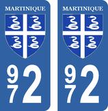 Lot de 2 stickers Blason Martinique