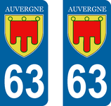 Lot de 2 Blasons Auvergne 63 Puy de Dome