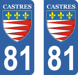 Lot de 2 stickers de la ville de Castres