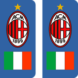 Lot de 2 stickers AC Milan drapeau Italien