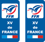Lot de 2 stickers XV de France Rugby