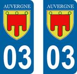 Lot de 2 Blasons Auvergne 03 Allier