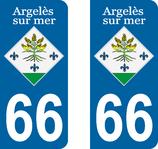 lot de 2 stickers ville d'Argelès sur mer