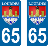 Lot de 2 stickers ville de Lourdes