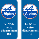 Lot de 2 stickers Alpine n° au choix