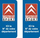 Lot de 2 stickers Citroen Sport avec N° de département