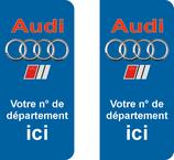 Lot de 2 stickers Audi avec votre n° de département