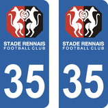 Lot de 2 stickers Stade Rennais