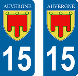 Lot de 2 Blasons Auvergne 15 Cantal