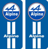 Lot de 2 stickers Alpine avec bande blanche
