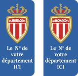Lot de 2 stickers AS Monaco nouveau Logo n° au choix.