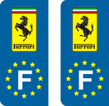 Lot de 2 stickers Ferrari Europe rectangulaire