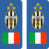 Lot de 2 stickers Juventus drapeau Italien