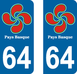 Lot de 2 stickers Pays Basque n°64