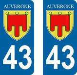 Lot de 2 Blasons Auvergne 43 Haute Loire