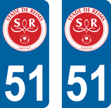 Lot de 2 stickers Club de Foot de REIMS