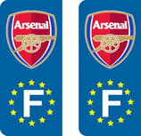 Lot de 2 stickers Club Arsenal avec les étoiles Europe ou perso,,