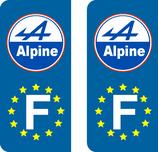 Lot de 2 adhésifs Alpine modéle rond Europe.