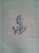 TH-008 Anker Anchor Glaube,Liebe,Hoffnung maritimes Geschirrhandtuch für die Kombüse