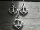 AO-007 Anker Glaube Liebe Hoffnung Set Ohrringe+Anhänger Seefahrt