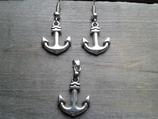 AO-004 Anker Set Ohrringe und Anhänger maritim Seefahrt Törn Geschenk