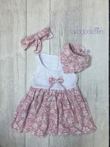 """Friesenrose"" Kleid in altrosa/weiß - Gr. 62"