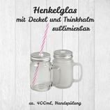 Henkelglas mit Deckel und Trinkhalm, sublimierbar, ca. 400ml