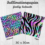 Sublimationspapier bedruckt 30x30cm 'Colorful Animal Print'