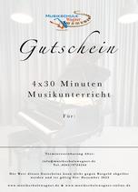 Gutschein 4 x 30 Minuten Musikunterricht
