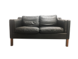 Canapé en cuir 2 places noir