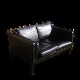 Canapé en cuir noir 2 places