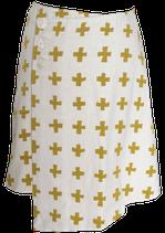 ラップスカート 白×黄