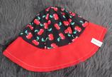 Hut Gr. 49-51, schwarz-rote Kirschen