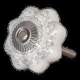 """Möbelknopf // """"Blume mit Ornament"""" in weiß"""