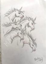 """Dessin original """"troupeau de licorne"""""""