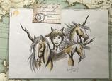 """Dessin original """"faune et licornes"""""""