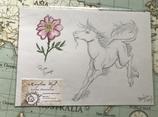 """Dessin original """"fleur et licorne"""""""