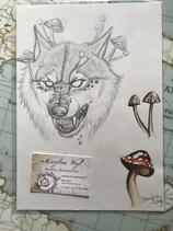 "Dessin original ""loup-garou et champignons"""