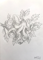 "Dessin original ""pieuvre arboricole au crayon"""