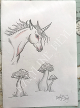 """Dessin original """"licorne et champignons"""""""