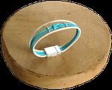Bracelet marin bi-color écru/turquoise